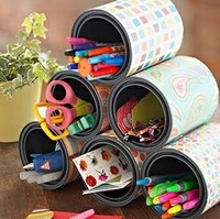 love the can idea! Cover with pretty coordinating papers!