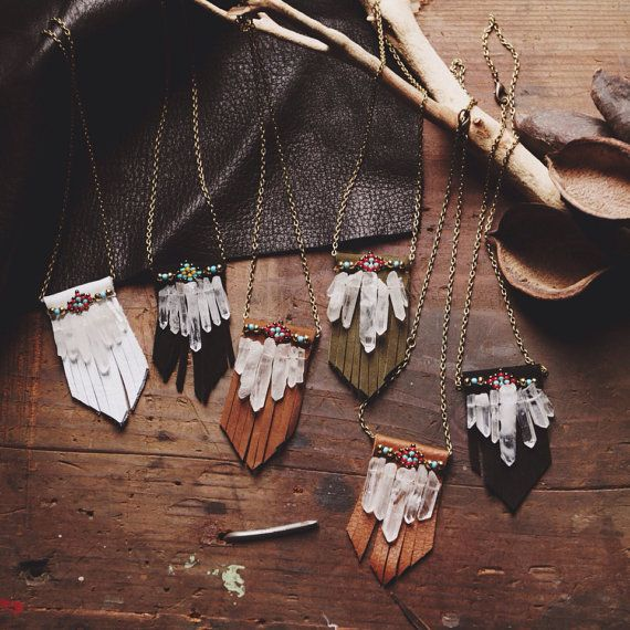 Native American inspired handmade raw crystals beaded leather fringe antique brass chain necklace