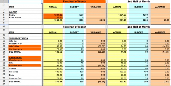 how to keep track of spending in excel