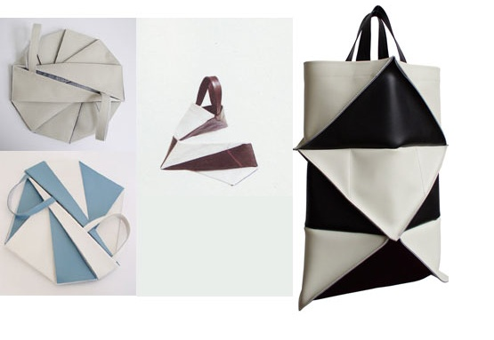 LEATHER ORIGAMI PATTERN BAG