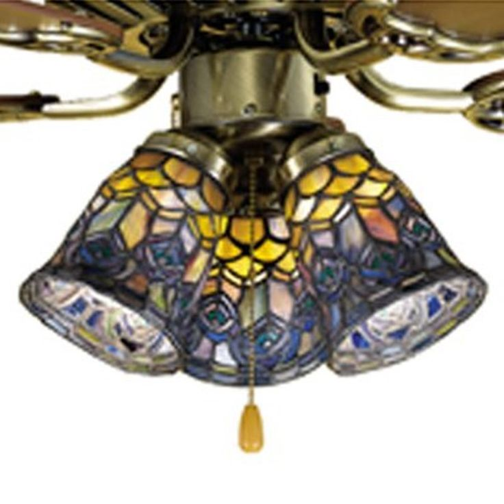 Meyda Tiffany Peacock Feather 4 In H W Stained Glass Style Bell Ceiling Fan Light Shade 27459
