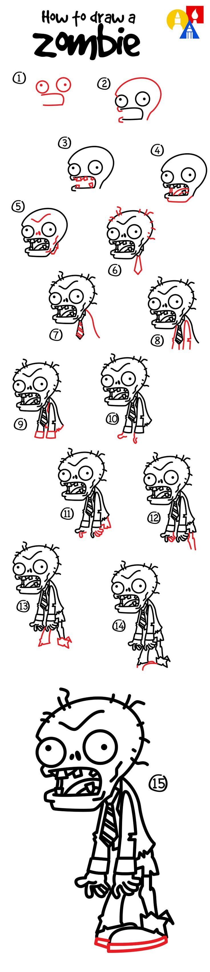 How to draw a zombie from Plants vs Zombies!: