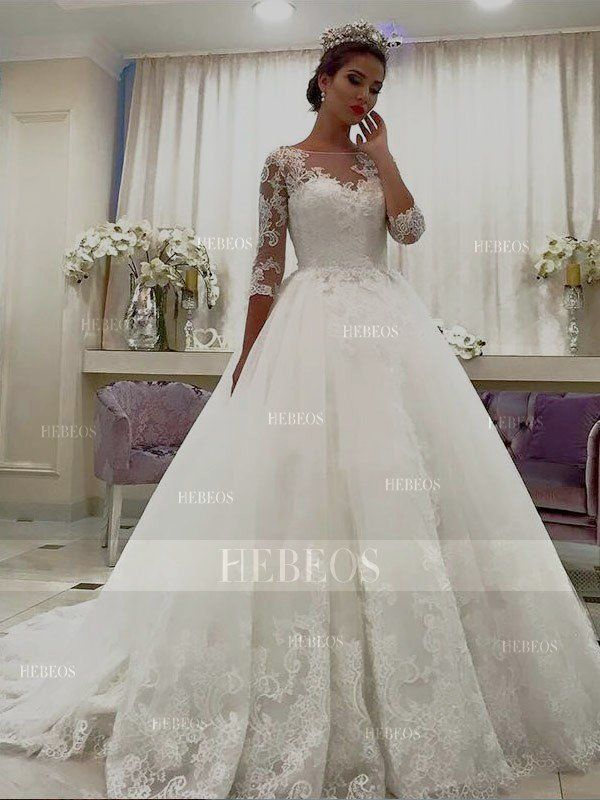 Ball Gown Tulle 3 4 Sleeves Bateau Lace Court Train Wedding