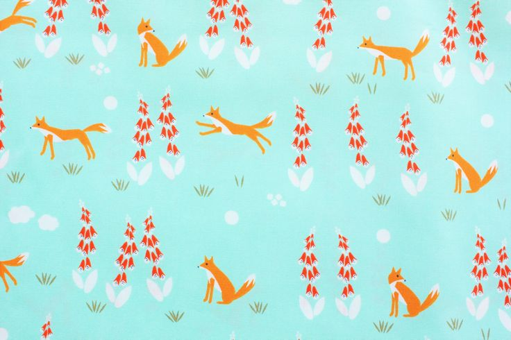 Fox Fabric, Cloud 9 Fabrics, Cotton Fabric, Foxglove, Woodland, Turqoise, Mint Green, Organic Cotton, Quilting, Dressmaking, Half Metre by TwoChubbyRabbits on Etsy