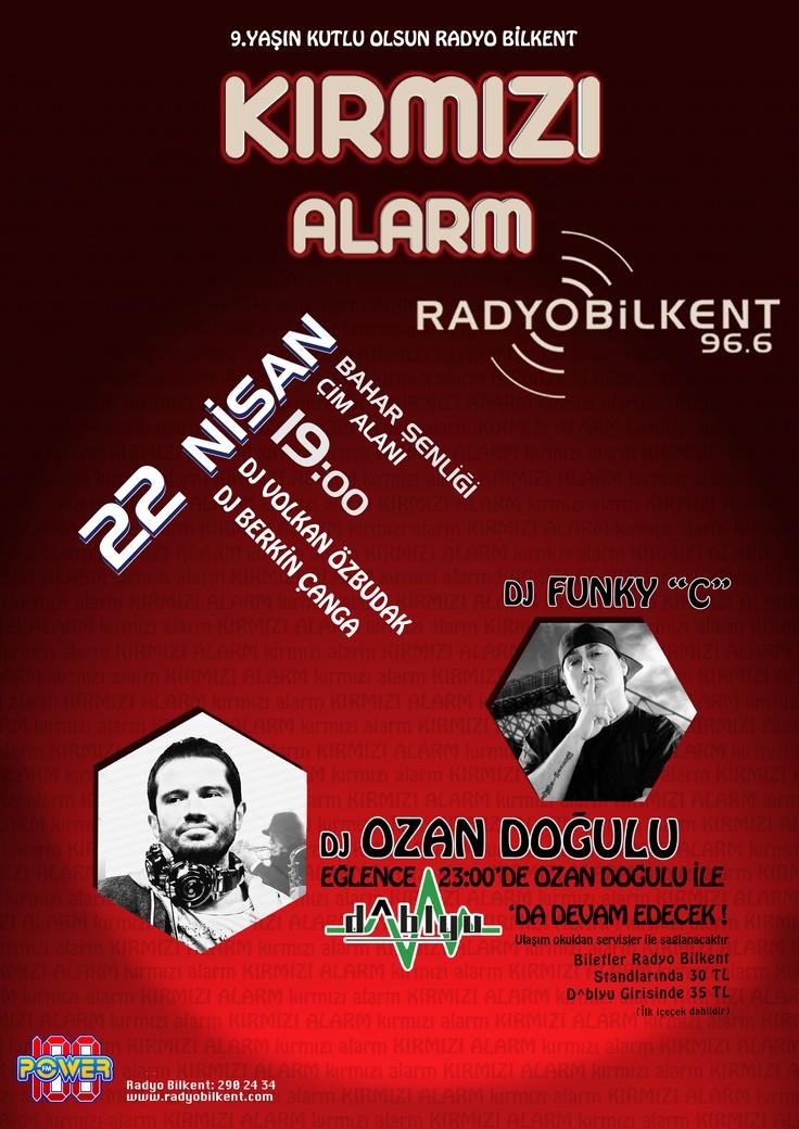 Radyo Bilkent 96.6 frekansındaki 9.yaşını 22 Nisan 2011 Cuma gecesi her yıl olduğu gibi Kırmızı Alarm partisiyle kutladı. Bilkent Üniversitesi Merkez Kampüs Çim Alan'da gerçekleşen Ankara'nın en büyük açık hava partisinde DJ Funky C ve after party'de DJ Ozan Doğulu binlerce insanı coşturdu.
