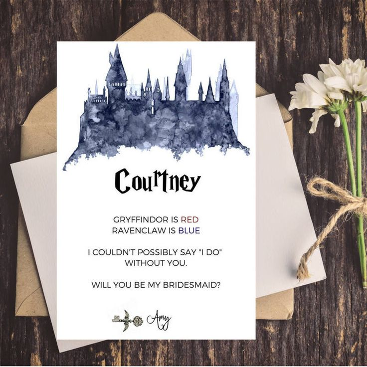 Harry Potter Bridesmaid Proposal Card | Will You Be My Bridesmaid | Maid of Honor Card | Harry Potter Bridal Shower by CoupeDePapier on Etsy
