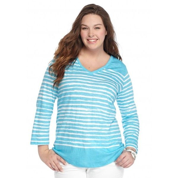 Crown  Ivy  Aquawhite Plus Size Stripe V-Neckline Tee - Women's ($9.98) ❤ liked on Polyvore featuring plus size women's fashion, plus size clothing, plus size tops, plus size t-shirts, plus size v neck tops, blue v neck t shirt, women plus size tops, plus size t shirts and striped v neck t shirt