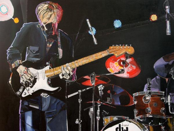 Painting of Eric Johnson performing at Old Rock House by Dana Richard Smith - danarichardsmith.com
