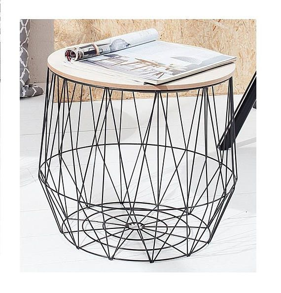 Storage small side tables black or white wire basket storage