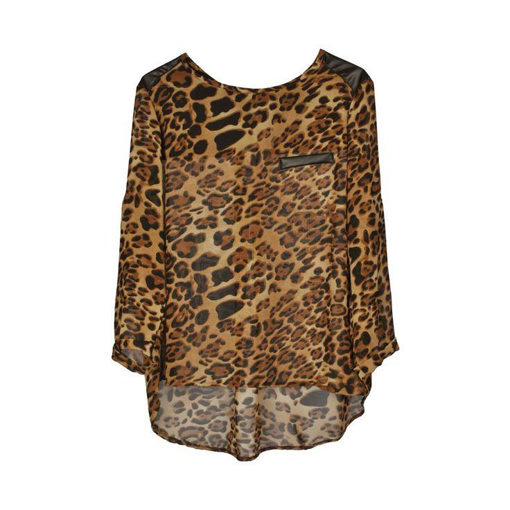 Blusa de mujer gasa animal print, aplicación latex