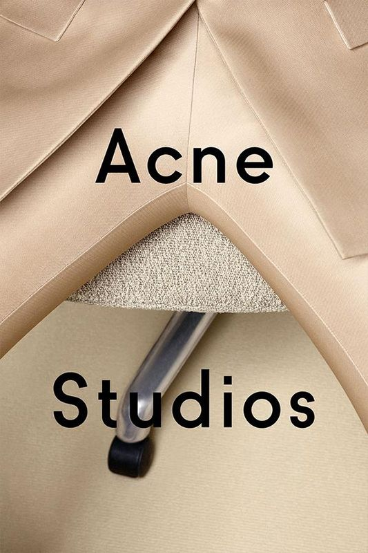 Acne Studio - Semi-abstract photography monochromic gold with modern black typography.