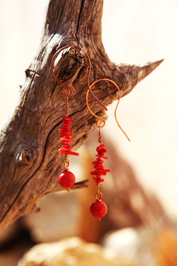 Red corals boho copper earrings. by Copperia on Etsy