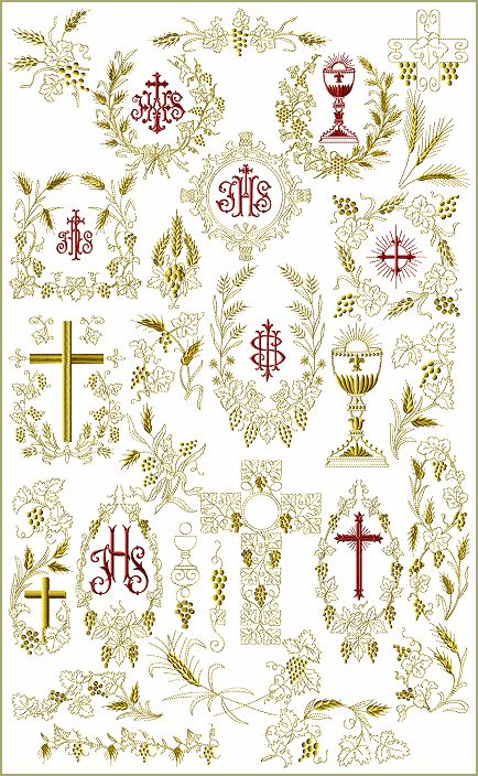 Imagine these in White or Cream on a Christening Gown.  Wow!  Christian Symbols machine embroidery designs--ABC me