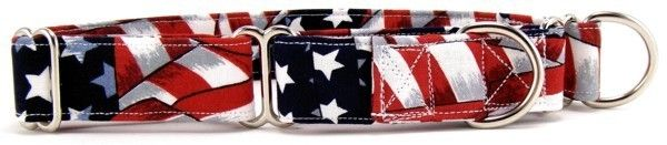Collar Planet - Stars and Stripes Martingale Dog Collar (http://www.collarplanetonline.com/dog-collars/stars-and-stripes-martingale-dog-collar/) This red, white and blue flag pattern dog collar is the perfect way to show your patriotic pride!