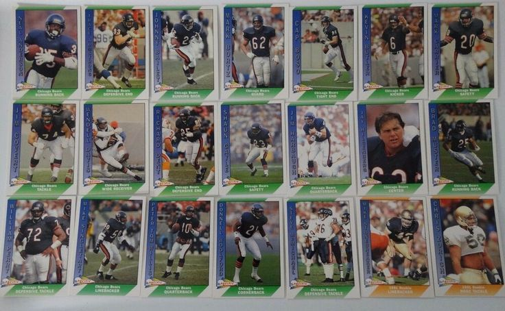1991 pacific chicago bears team set of 21 football cards