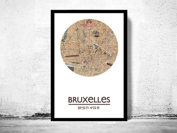 Brussel BRUXELLES  city poster  stad kaart poster afdrukken