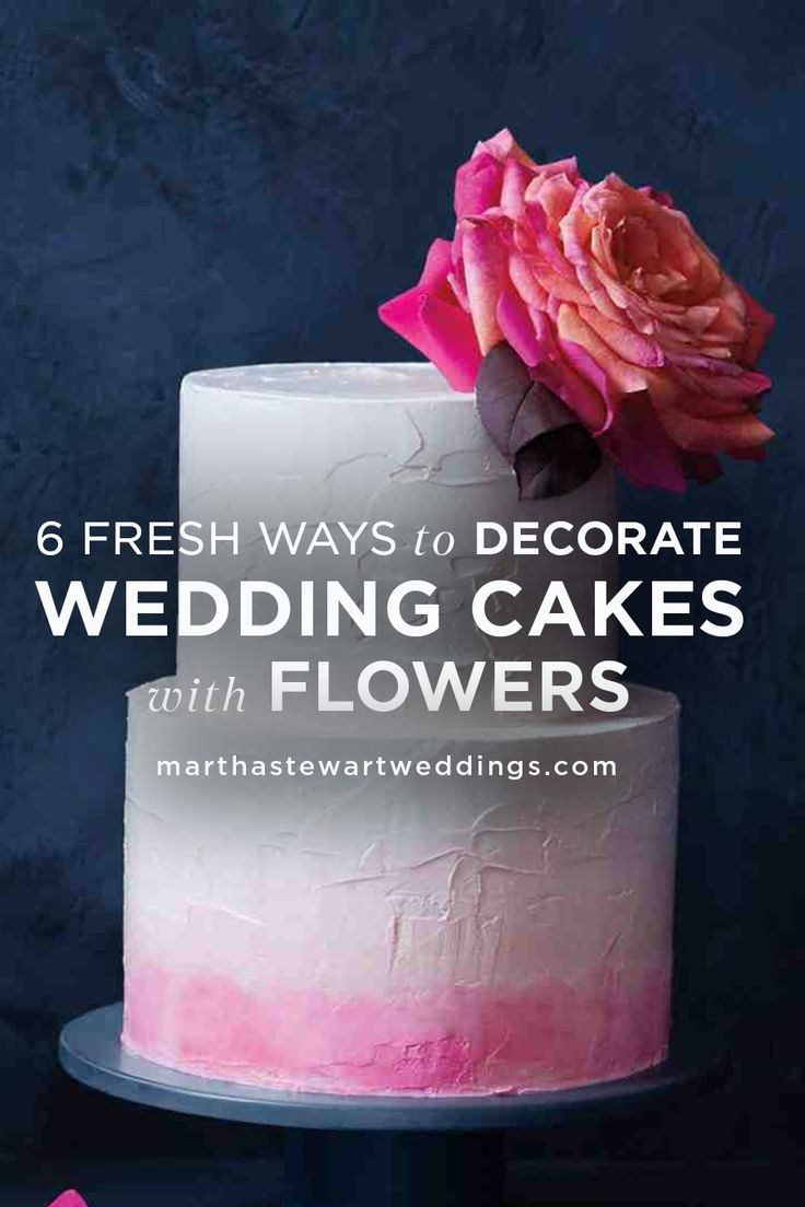 6 Fresh Ways to Decorate Wedding Cakes with Flowers | Martha Stewart Weddings - Fresh blooms are an undeniably chic and romantic way to take a basic cake from simple to stunning\u2014without costing a fortune. Adding blossoms can be as easy as topping your confection with one showstopping flower or adorning it with a stop-and-stare arrangement. Let your imagination grow wild.  Cake for everyday  #cakerecipe  #food