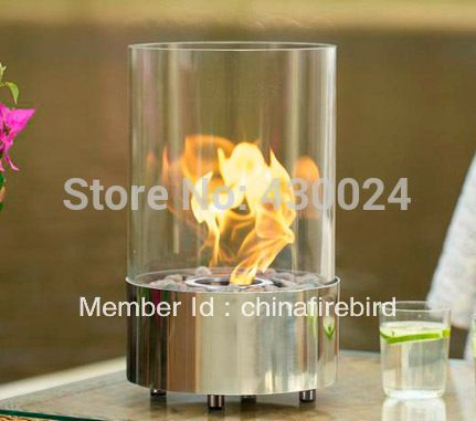 ethanol fireplace FD40 + stainless steel + table top model