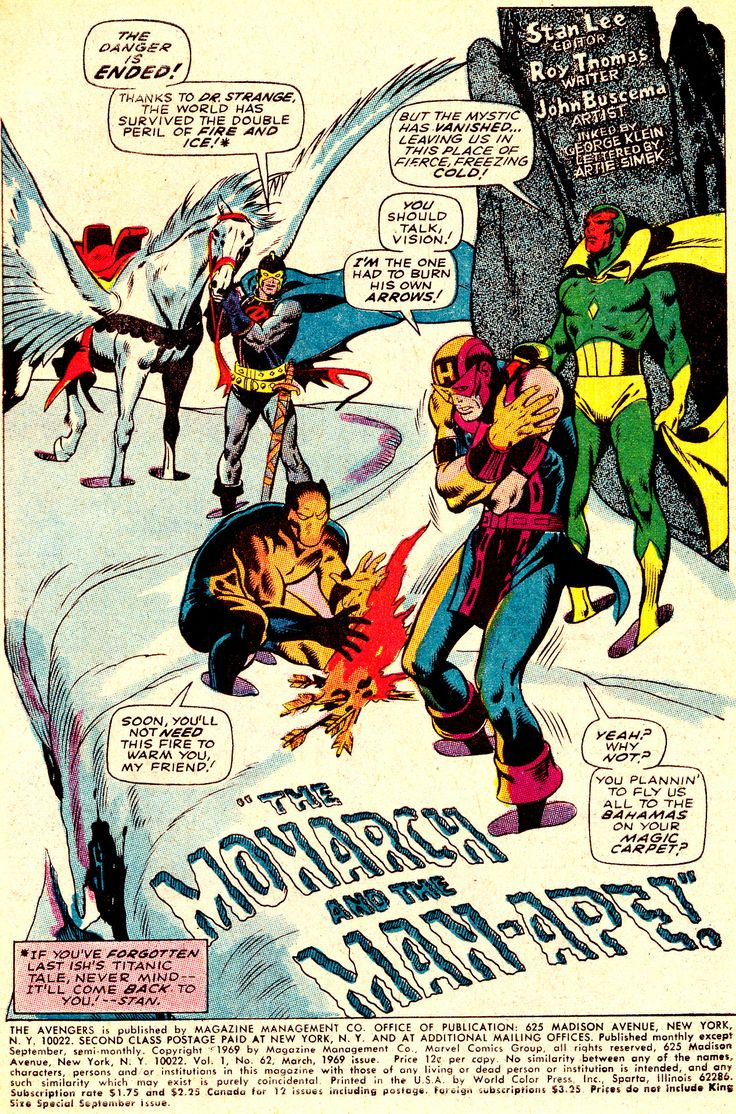 Splash Page From THE AVENGERS #62 (Mar. 1969) ~ art by John Buscema