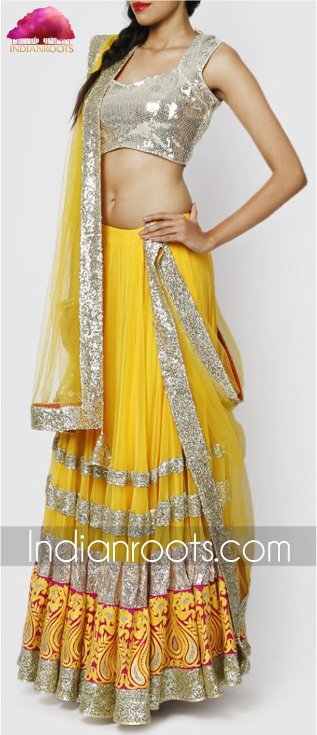 Yellow georgette #lehenga with silver sequined choli by Kylee on Indianroots.com