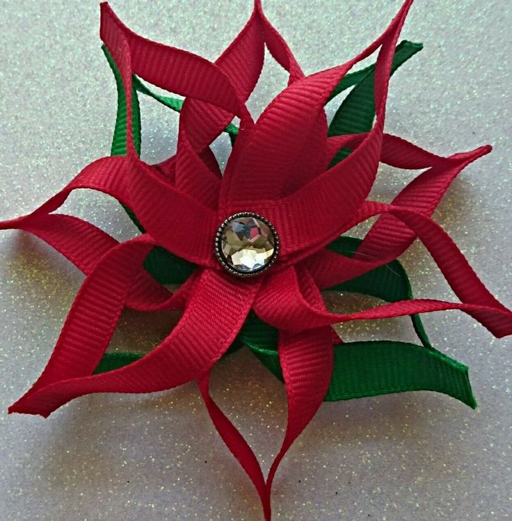 Christmas Poinsettia Clip Boutiqe Hair Bow Clips/Ribbon/Flatbacks #RazzleDazzleMe