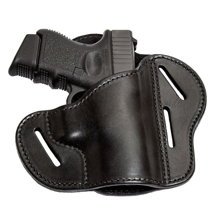 The Ultimate 3 Slot Leather Gun Belt Holster - S&W Shield/Glock/XD - Lifetime Warranty - Made in USA