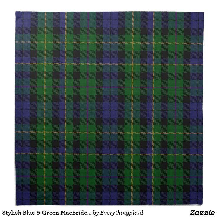 Tela escocesa de tartán azul y verde elegante de M Servilleta