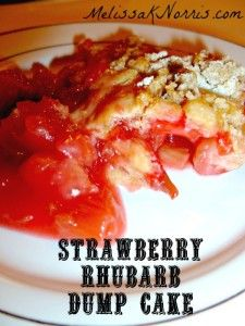 """Strawberry Rhubarb Dump Cake ww.melissaknorris.com""  I've been looking for a easy DIY cake batter.  This looks like it. No, time to make jam, but bet the cake batter will work with other things. And the kids will enjoy making as well as eating."