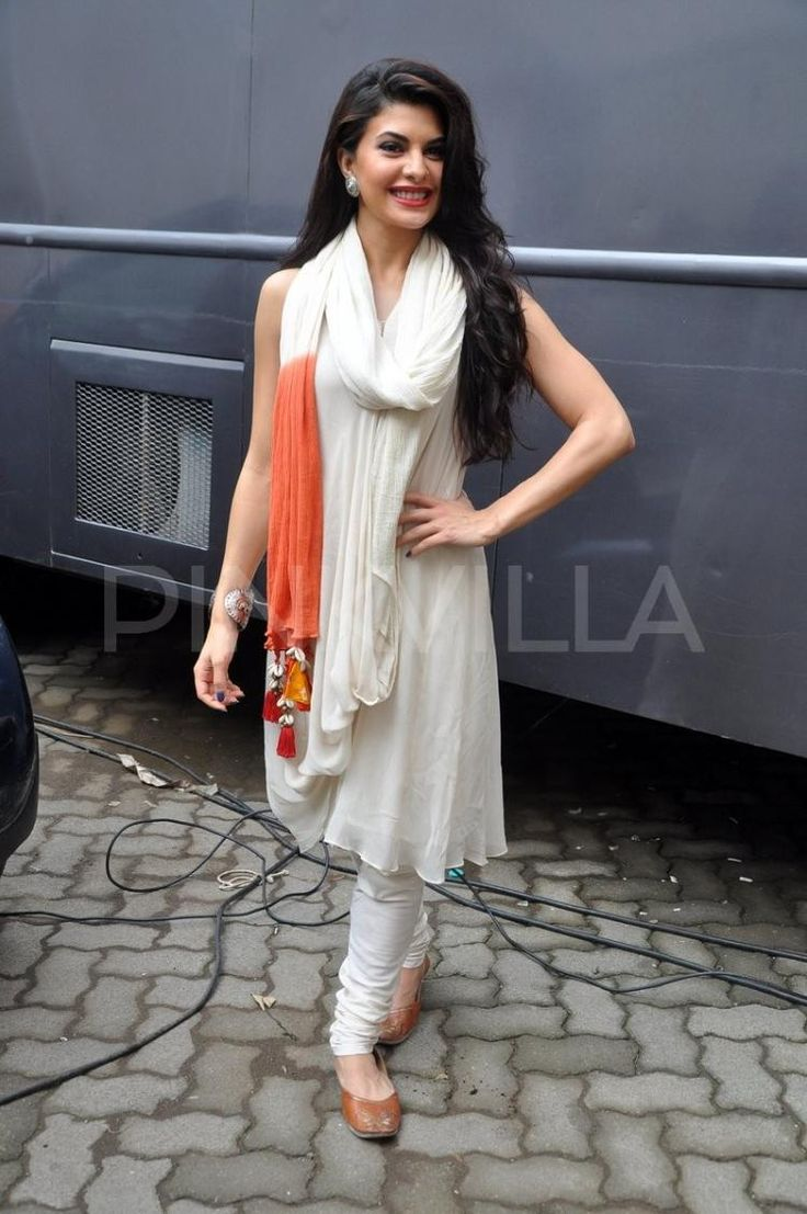 Jacqueline in white salwar suite