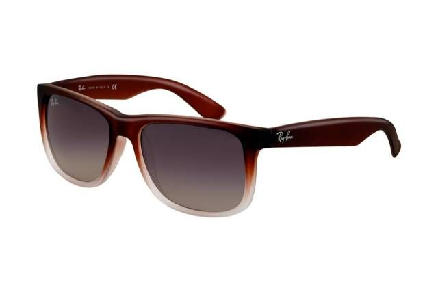 Ray Ban Justin RB4165 Sunglasses Rubber Brown Gradient Frame Grey Gradient Lens