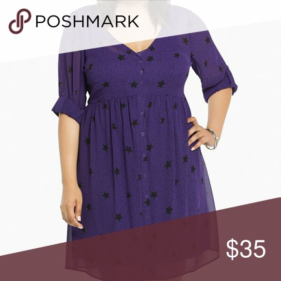 """Torrid Star Print Chiffon Shirt Dress A shirt dress with """"a star is born"""" quality and that's all you. The deep purple chiffon is playful with an allover black star print, yet sophisticated with the key ingredients of detail. Note the slip underlay, button front, and tab sleeves. Torrid Dresses"""