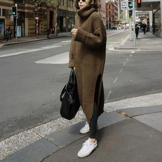 Fashion Casual Loose Plain High Collar Long Sleeve Fork Long Knitting Sweater #WomensFashionEdgy