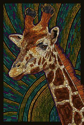 Żyrafa - Papier Mozaika - Lantern Press Plakat