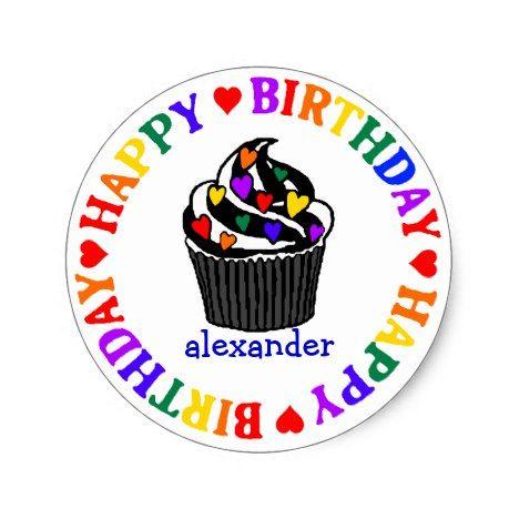 Rainbow Heart Cupcake Birthday Classic Round Sticker | Zazzle.com