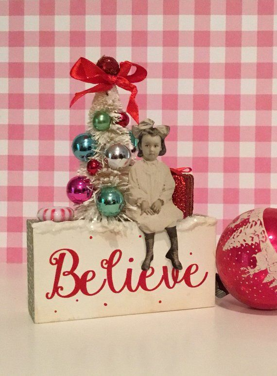 Old Fashioned Christmas Assemblage ~ Small Tabletop Decoration, Paper Doll  and Bottle Brush Tree, Unique Christmas Gift, Farmhouse Christmas | A Very  ... - Old Fashioned Christmas Assemblage ~ Small Tabletop Decoration