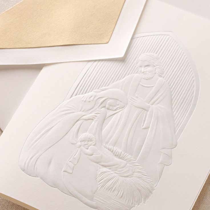 Hand Engraved Nativity Christmas Greeting Cards: Remind loved ones of the true story of Christmas with our nativity holiday greeting card, illustrated in subtle yet elegant blue.