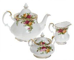 Serveware for Entertaining Guests - Royal Albert Old Country Roses 3-Piece Tea Set - Exquisite teapot, creamer and sugar bowl - This beautiful set is crafted from fine bone china and embellished with 22-carat gold - Sept 8, 2015 price $87.43 / Andrew, Project Fellowship