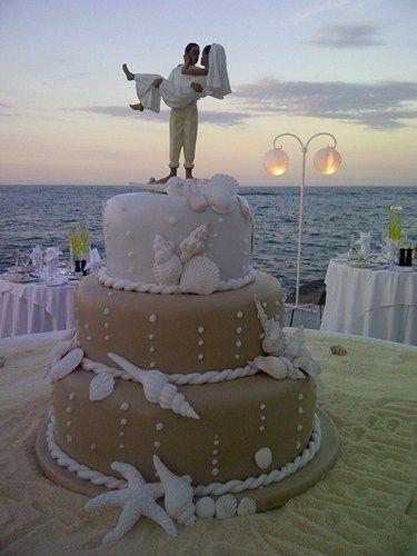 Now that's a beach wedding cake, brown sugar sand & sugar shells, ya mon…