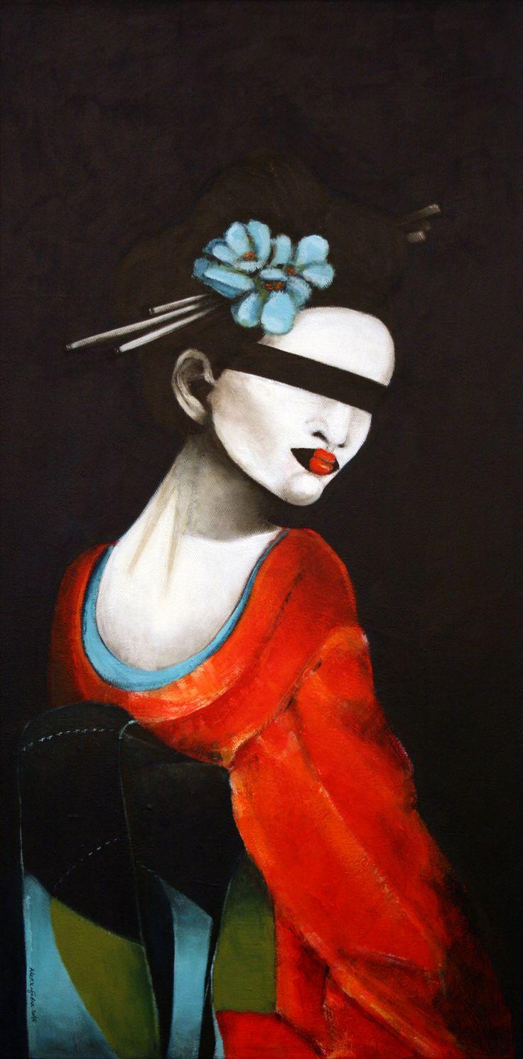 Geisha, 40x80cm, acrylic on canvas, 2016, portrait, painting, japanese, flower, art
