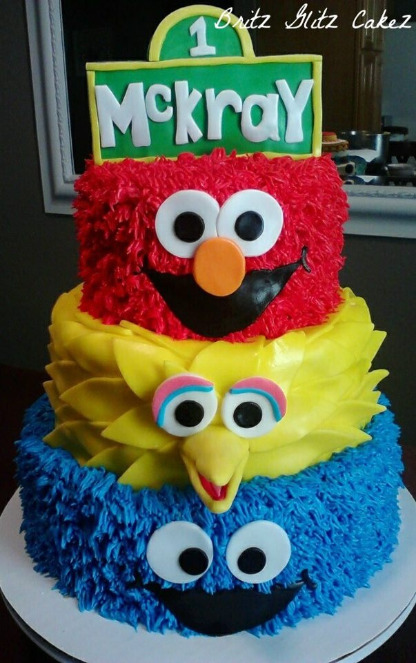 elmo big bird and cookie monster cake quinn 1st bday