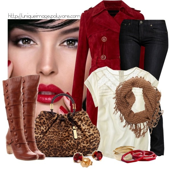 """""""Ruby Red"""" by uniqueimage on Polyvore: Fashion, Style, Outfit, Polyvore, Red Suede, Trench Coats, Red Coats"""