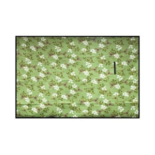 Zelená pikniková deka s kvetovým motívom