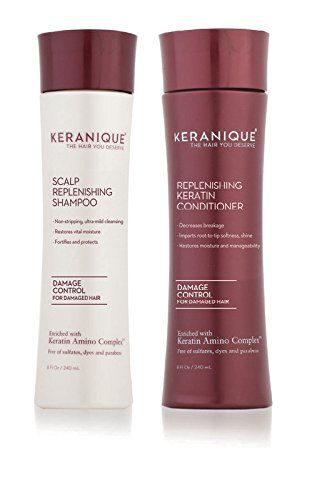 Keranique Scalp Replenishing Shampoo and Replenishing Keratin Conditioner Set  Damage Control for Damaged Hair -- Click image for more details. Note: It's an affiliate link to Amazon #HairRegrowth