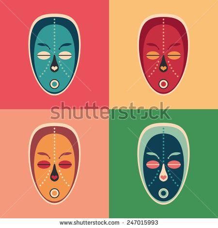 Set of colorful love ethnic masks. #flaticons #vectoricons #flatdesign
