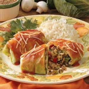 Vegetarian Cabbage Rolls  This marvelous meatless entree comes from my 89-year-old grandmother, who cooks a lot with grains, particularly bulgur. The zucchini's a fun change of pace in these cabbage rolls. —Michelle Dougherty of Lewiston, Idaho