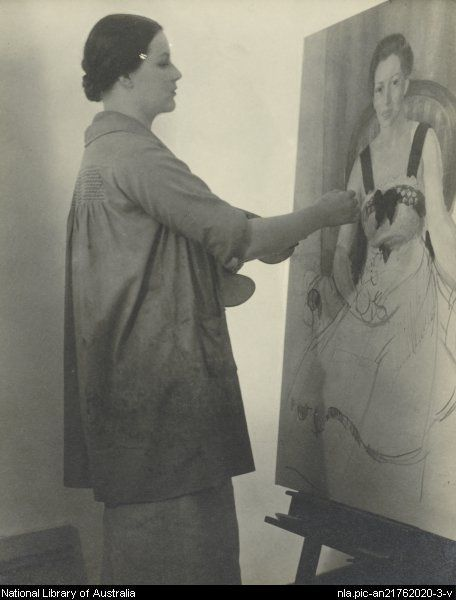 "Nora Heysen painting the Archibald Prize winning ""Portrait of Madame Schuurman"" (c. 1936-1941) via NLA."