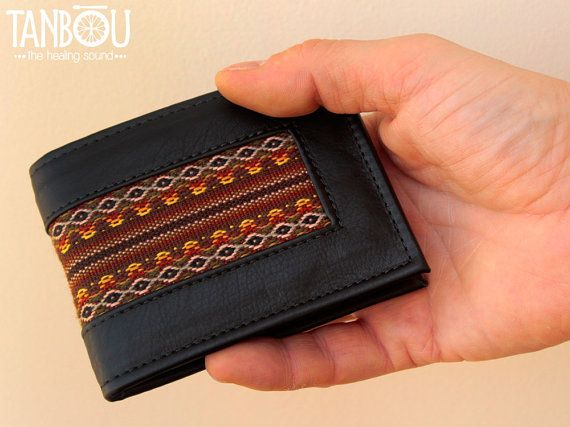 Mens wallet, leather wallet,  mens leather wallet, ethnic fabric, bifold wallet, tribal fabric wallet, indian textile wallet, gift for him