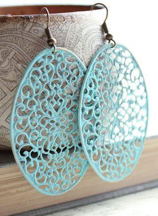 Patina Filigree Earrings Aqua Blue