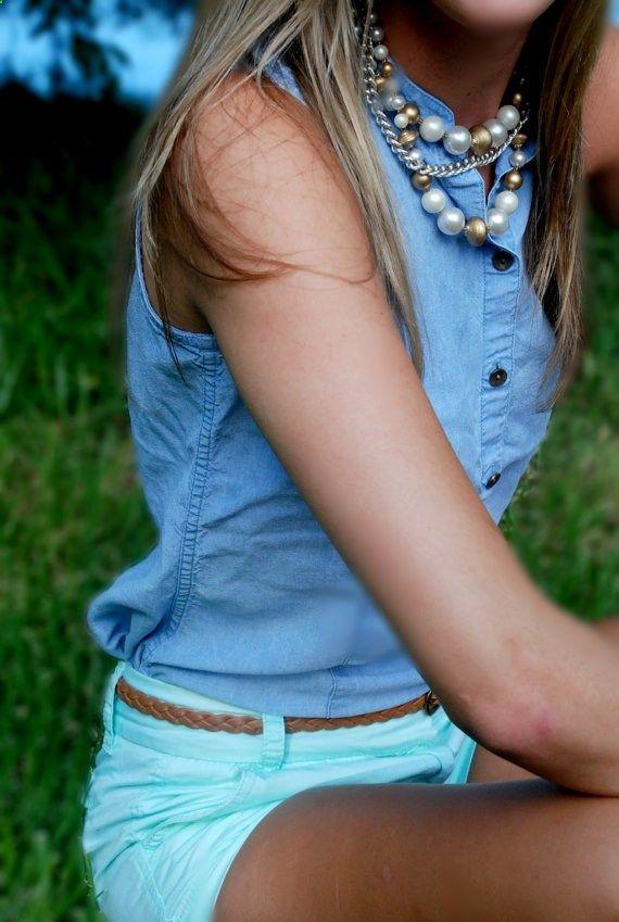432064776502154968975 Vintage Light Blue Jean Sleeveless Shirt by clothedindignity, $16.99
