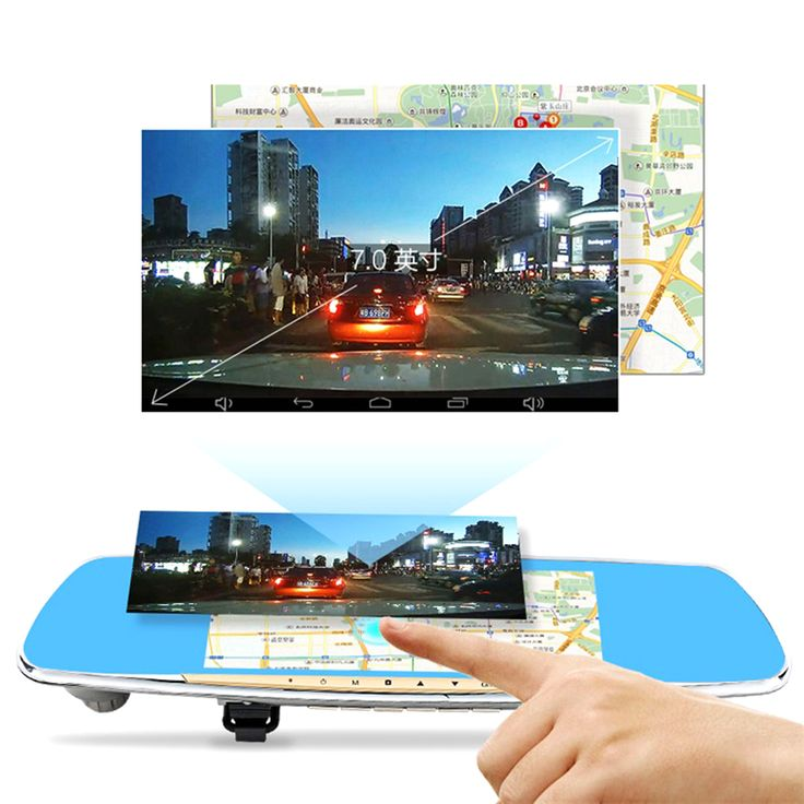 """5.0"""" IPS Touch Car DVR 16G ROM Android 4.4 GPS Navigation FM Transmitter Dual Camera Parking Rear View Mirror Camera Recorder#rear view mirror gps navigation"""